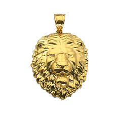 10K Yellow Gold Lion Face Charm Pendant