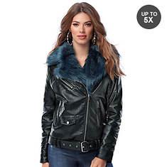 Contrast Faux Fur Moto Coat