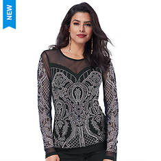 Sweetheart Mesh Embellished Top