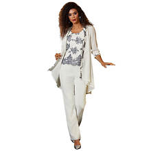 Sequin Embroidered 3-Piece Pant Set