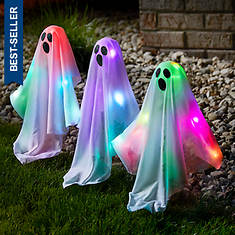3-Piece LED Color-Changing Ghost Stakes