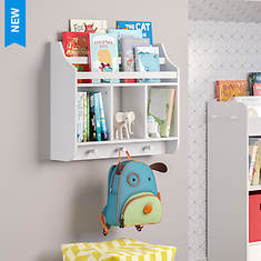 Wall Shelf with Cubbies and Bookrack
