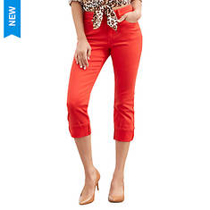 Colored Skinny Cuffed Capri