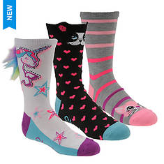 Skechers Girls' S113011 3 Pk Non Terry Crew Socks