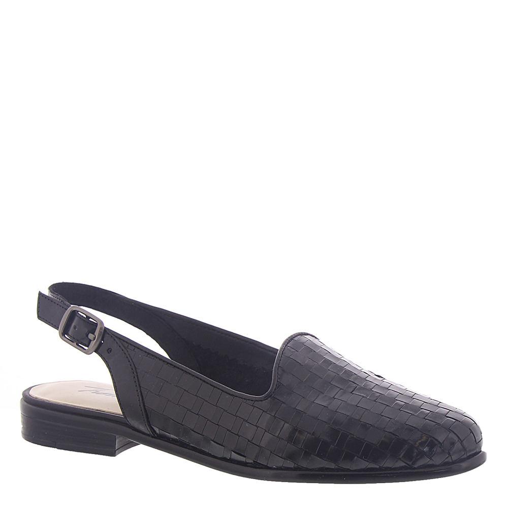 Retro Vintage Style Wide Shoes Trotters Lena Womens Black Sandal 10 W $94.95 AT vintagedancer.com