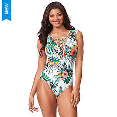 Ruffle Lace-Up Swimsuit