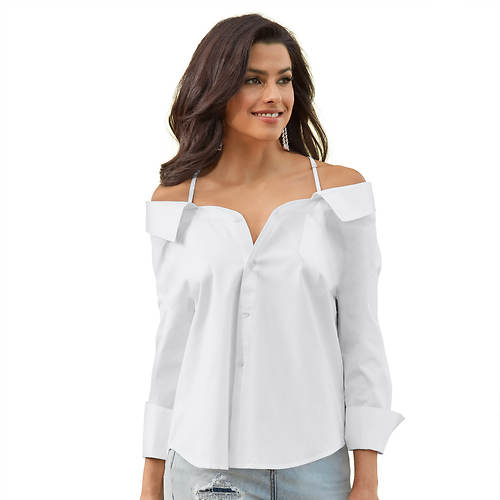 Off-Shoulder Button-Down Shirt