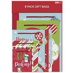 8-Pack Whimsical Christmas Gift Bags