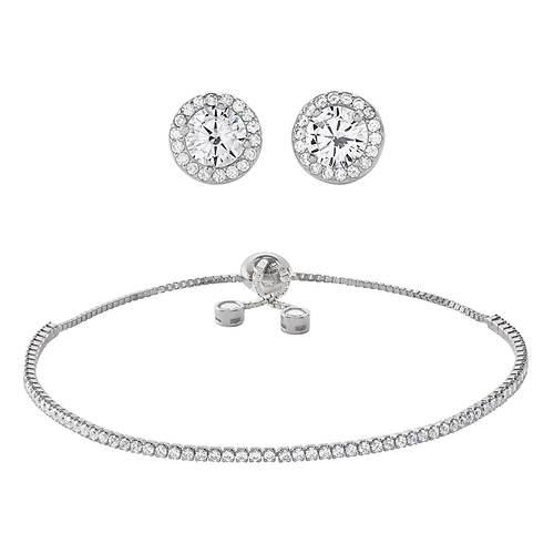 Swarovski CZ Bracelet & Earring Set