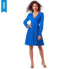 Pleated Faux Wrap Dress