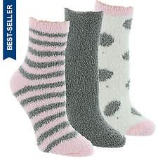 Steve Madden Women's SM44832 3PK Cozy Polka Dot Stripe Crew Socks