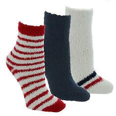 Steve Madden Women's SM44833 3PK Cozy Star Stripe Crew Socks