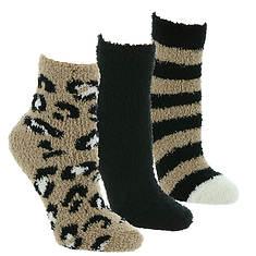 Steve Madden Women's SM44836 3PK Cozy Leopard Crew Socks