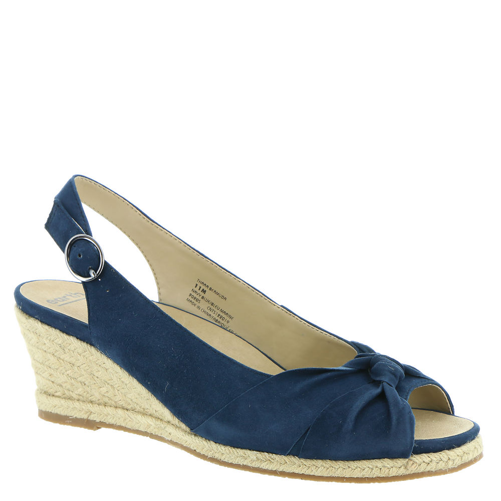 1940s Style Shoes, 40s Shoes Earth Thara Bermuda Womens Navy Sandal 6 M $124.95 AT vintagedancer.com
