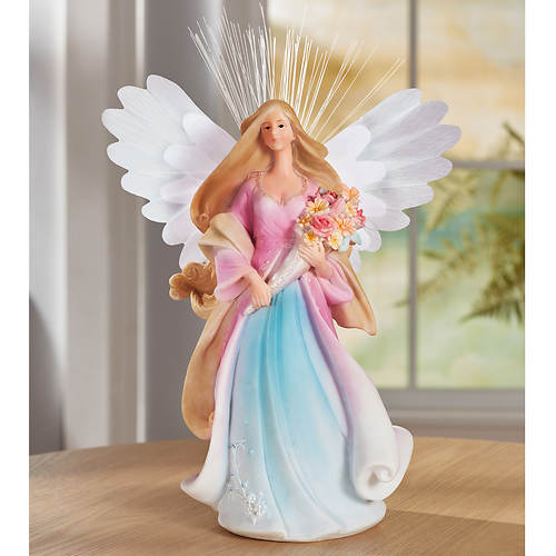 Lighted Resin Angel with Fiber-Optic Wings