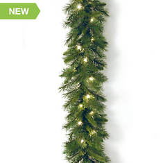 9' Winchester Pine Garland with Lights