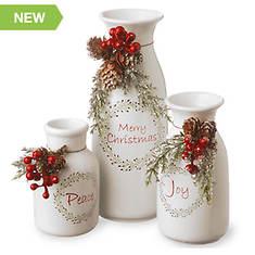 Holiday Antique Milk Bottles Set