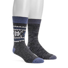 MUK LUKS Men's 2-Pair Fluffy Yarn Boot Socks