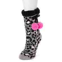 Betsey Johnson Women's Faux Fur Poms Cabin Sock