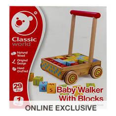 Wood Baby Walker with Blocks