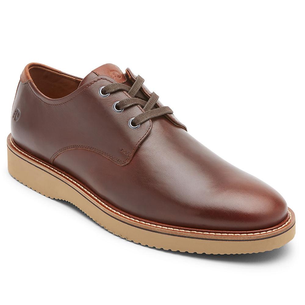 Mens Vintage Shoes, Boots | Retro Shoes & Boots Dunham Clyde Plain Toe Mens Tan Oxford 11.5 E2 $159.95 AT vintagedancer.com