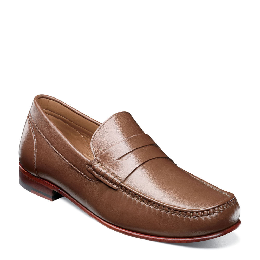 Mens Retro Shoes | Vintage Shoes & Boots Florsheim Beaufort Moc Toe Penny Loafer Mens Brown Slip On 8 W $129.95 AT vintagedancer.com