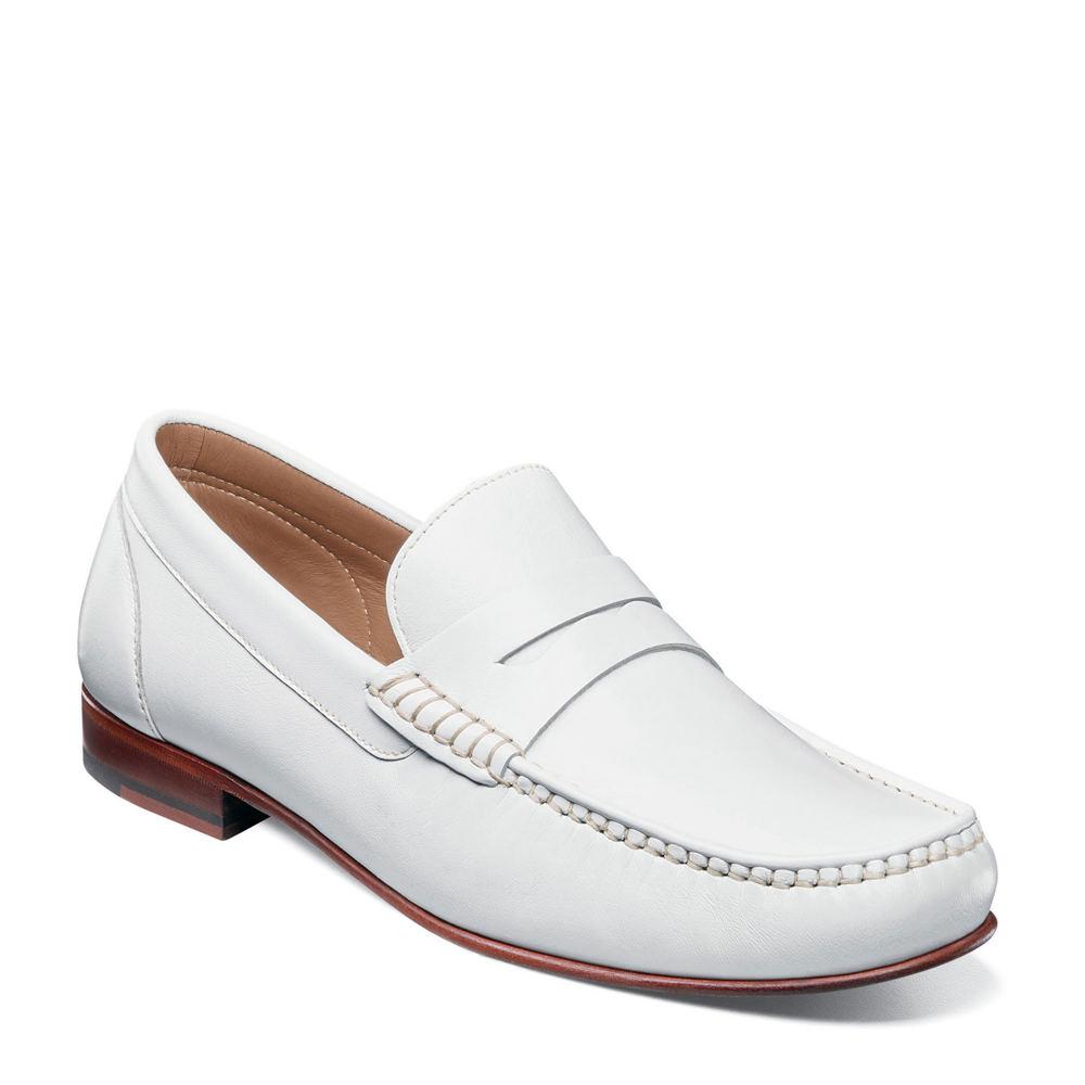 60s Mens Shoes | 70s Mens shoes – Platforms, Boots Florsheim Beaufort Moc Toe Penny Loafer Mens White Slip On 8 M $129.95 AT vintagedancer.com