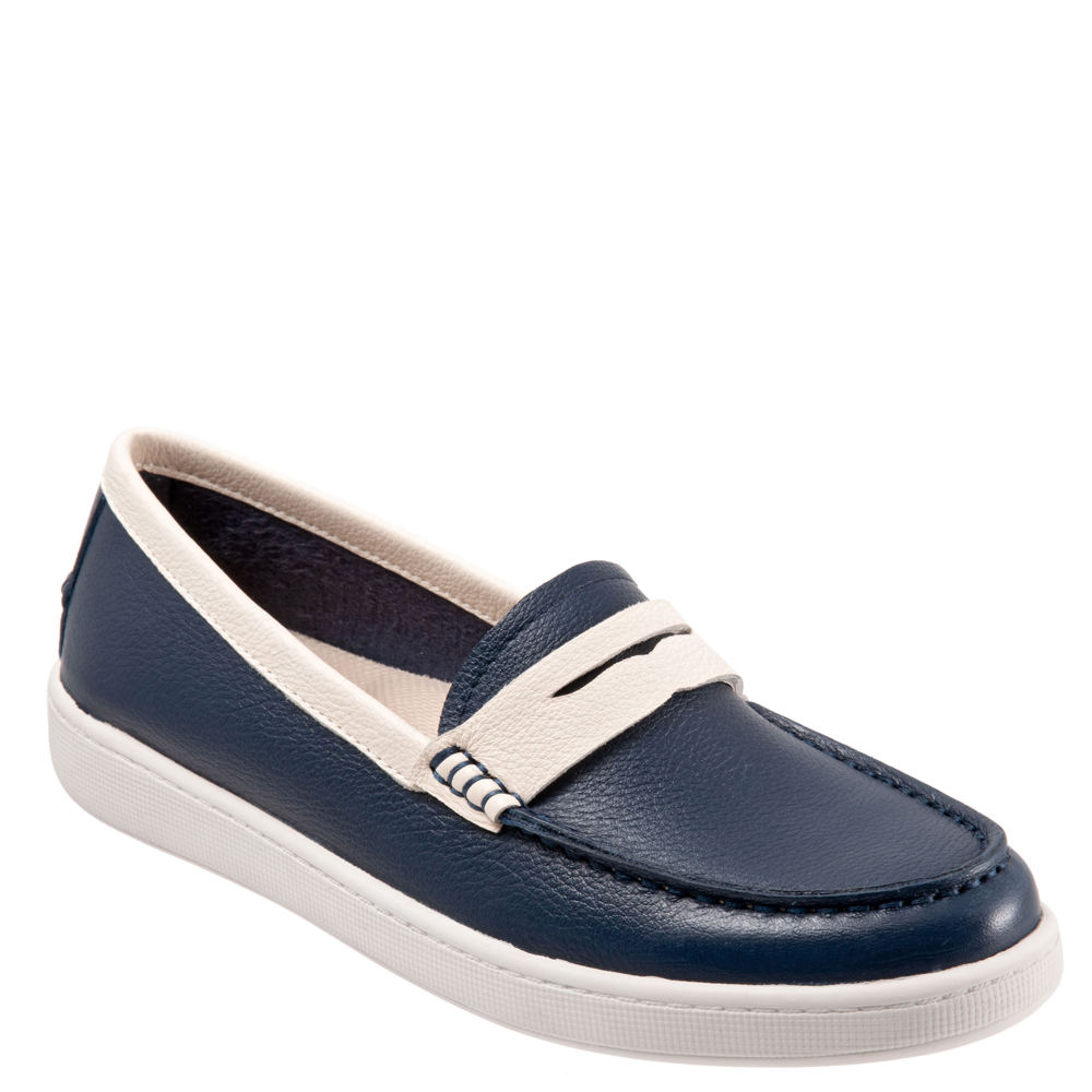 1940s Style Shoes, 40s Shoes Trotters Dina Womens Navy Slip On 7.5 N $114.95 AT vintagedancer.com