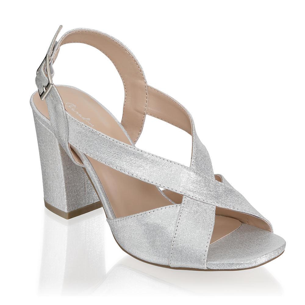 70s Shoes, Platforms, Boots, Heels | 1970s Shoes Paradox London Hibiscus Womens Silver Sandal 6.5 M $69.95 AT vintagedancer.com