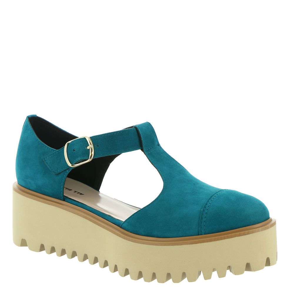 70s Shoes, Platforms, Boots, Heels | 1970s Shoes ALL BLACK Flatform Sandal Ox II Womens Blue Sandal Euro 37.5 US 7 M $165.95 AT vintagedancer.com