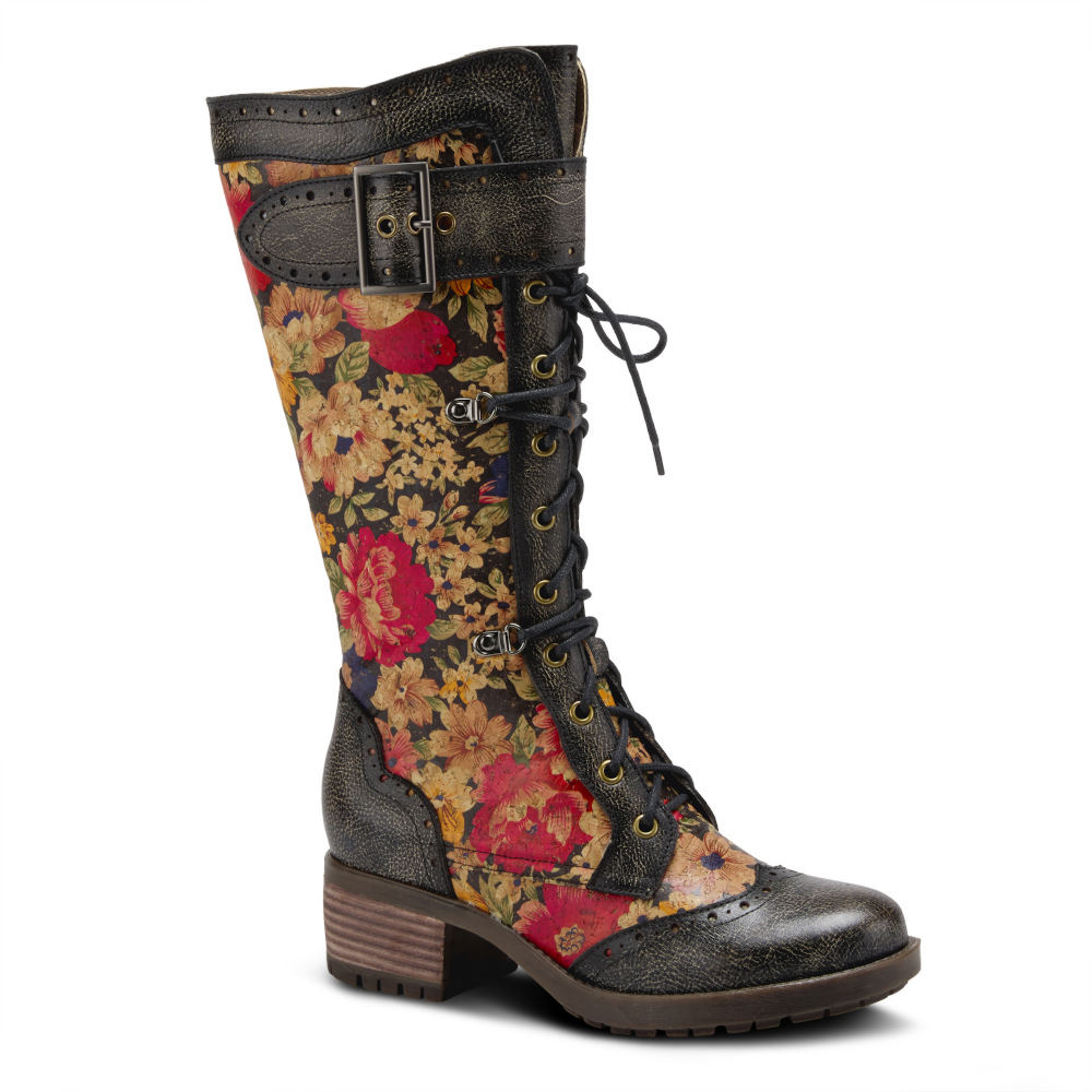Vintage Boots, Retro Boots Spring Step LArtiste Kisha-Flora Womens Black Boot Euro 36 US 5.5 - 6 M $189.95 AT vintagedancer.com