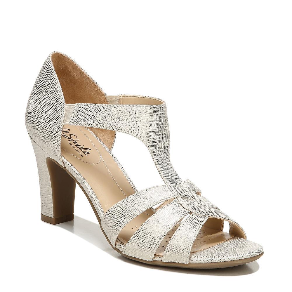 70s Shoes, Platforms, Boots, Heels | 1970s Shoes Life Stride Caramel Womens Gold Sandal 6.5 W $59.95 AT vintagedancer.com