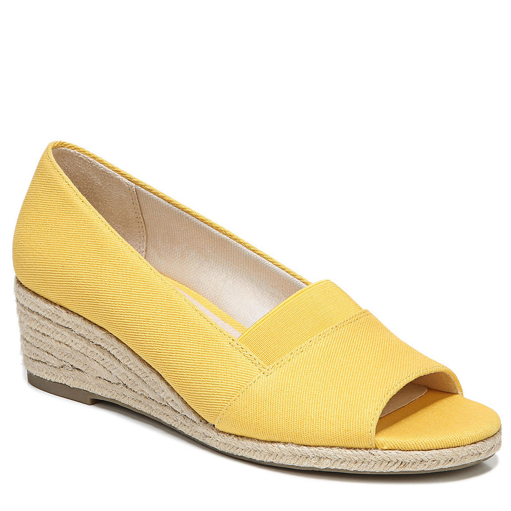 1940s Style Shoes, 40s Shoes, Heels, Boots Life Stride Sola Womens Yellow Sandal 10 W $69.95 AT vintagedancer.com
