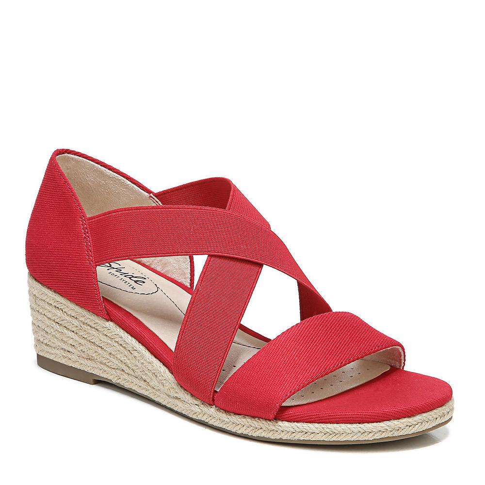 1950s Style Shoes | Heels, Flats, Boots Life Stride Siesta Str Womens Red Sandal 9.5 W $69.95 AT vintagedancer.com