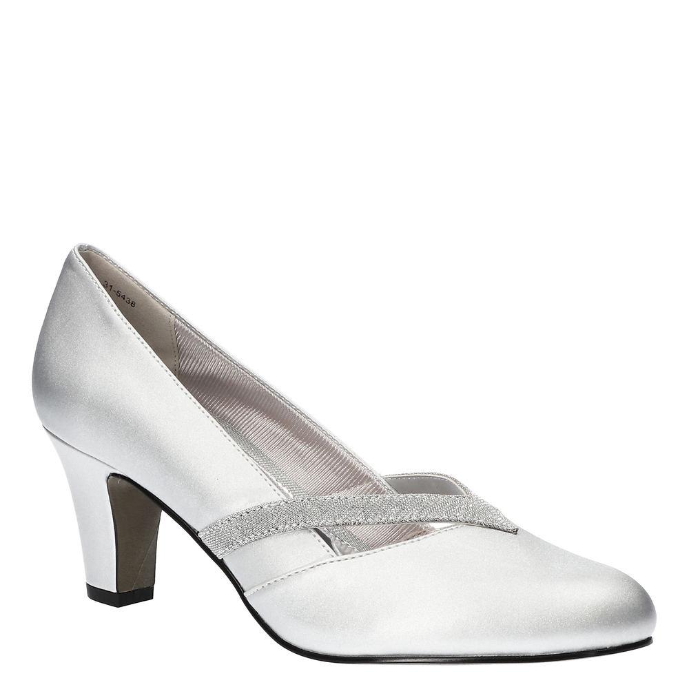 1930s Shoes – Art Deco Shoes, Heels, Boots, Sandals Easy Street Pleasant Womens Silver Pump 7.5 W2 $59.95 AT vintagedancer.com