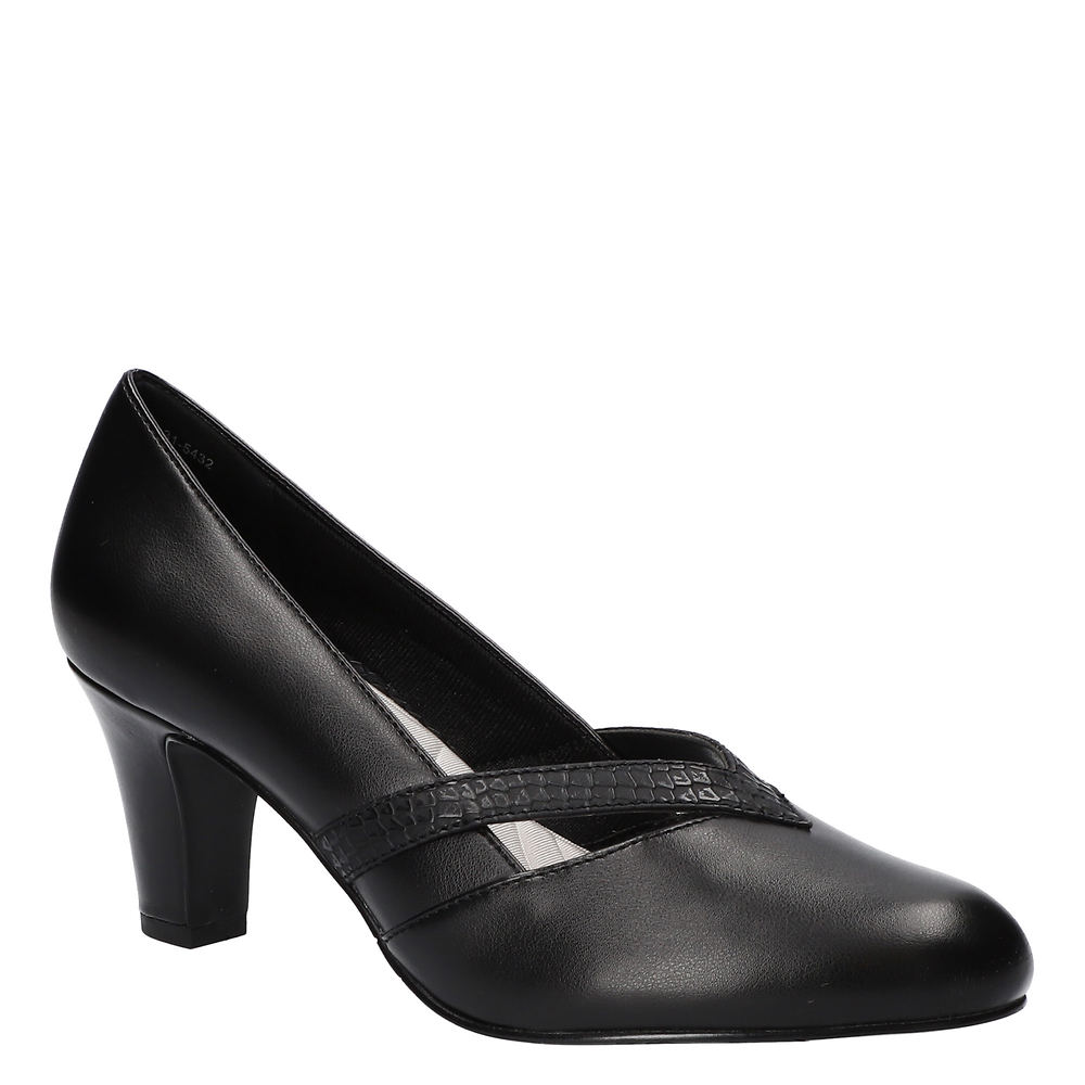 Women's 1920s Shoe Styles and History Easy Street Pleasant Womens Black Pump 9 W2 $59.95 AT vintagedancer.com