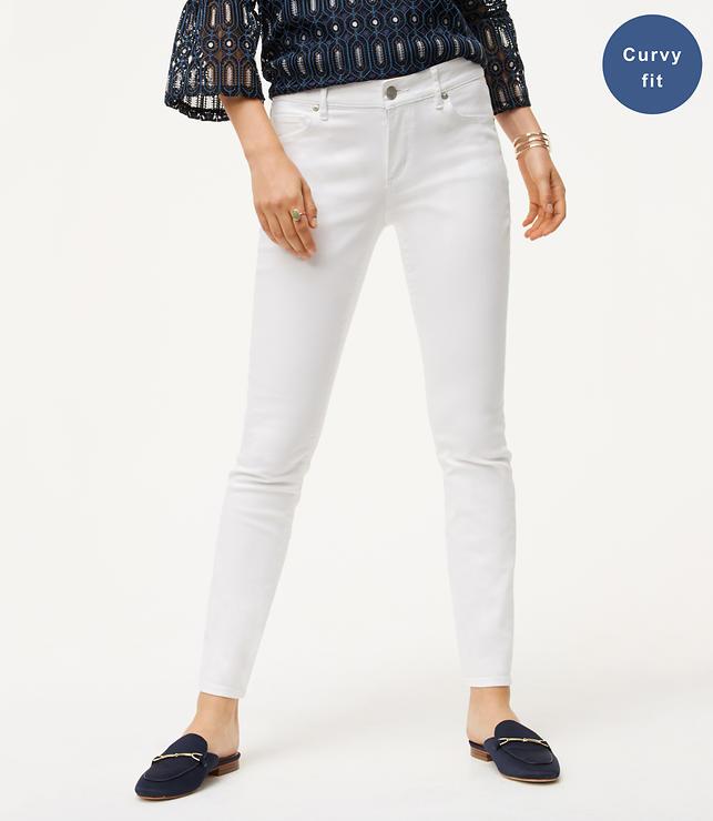Curvy Skinny Jeans in White | LOFT