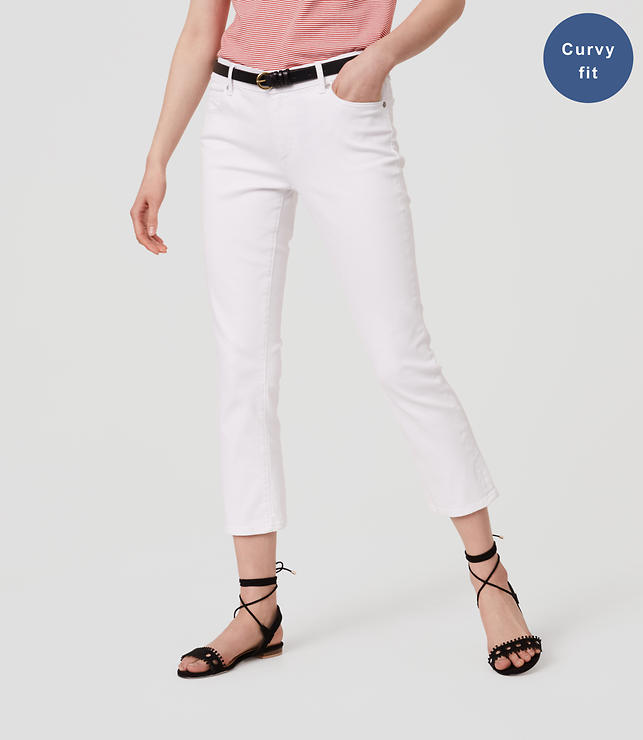 Curvy Kick Crop Jeans in White | LOFT
