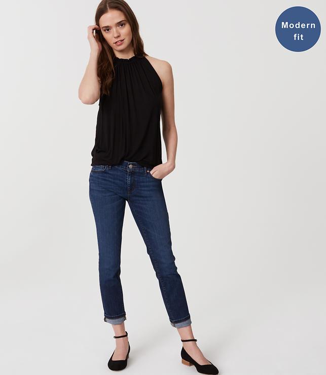 Modern Skinny Crop Jeans in Pure Dark Indigo Wash   LOFT