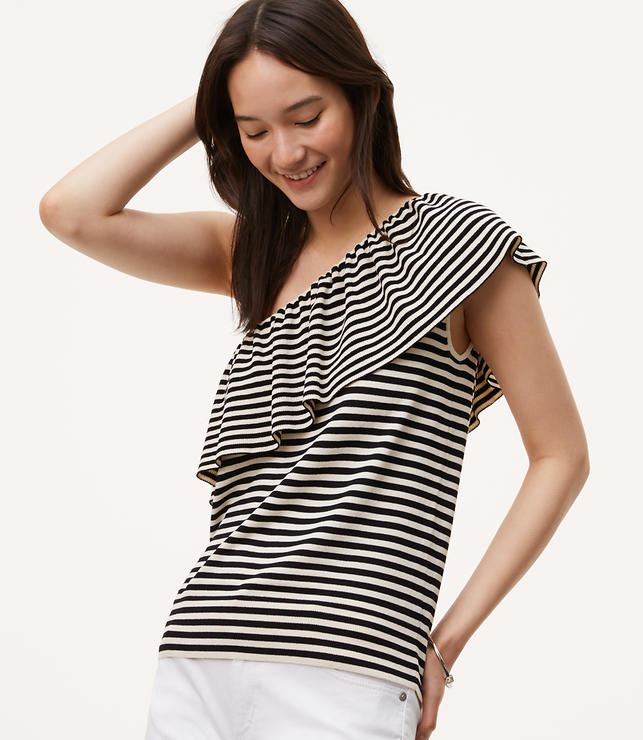 Primary Image of Striped Ruffle One Shoulder Sweater