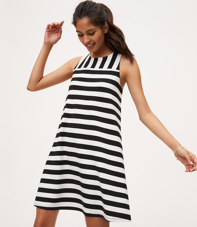 Primary Image of Mixed Stripe Sleeveless Swing Dress