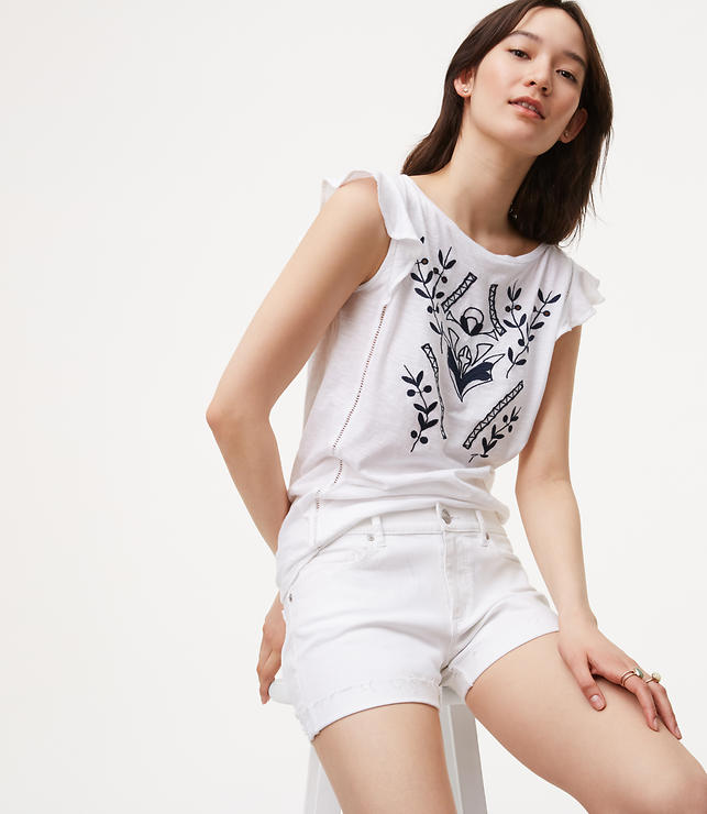 Primary Image of Denim Flip Cuff Shorts in White