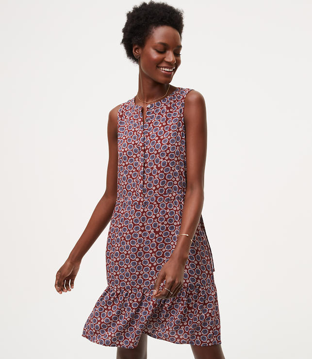 Primary Image of Floral Drawstring Henley Dress