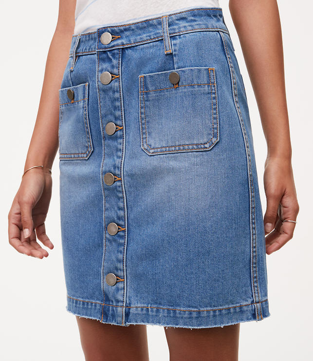 Button Down Denim Skirt | LOFT