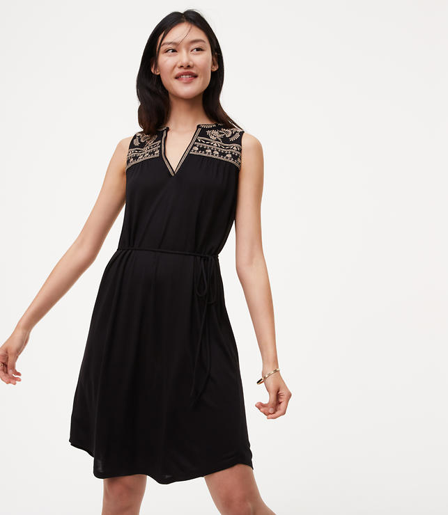Primary Image of Embroidered Split Neck Dress