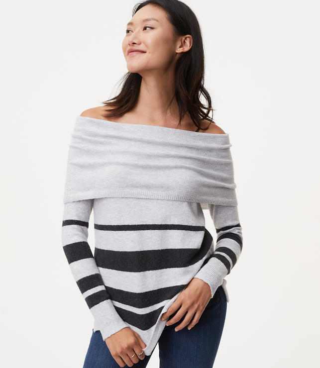 Striped Foldover Off the Shoulder Sweater | LOFT