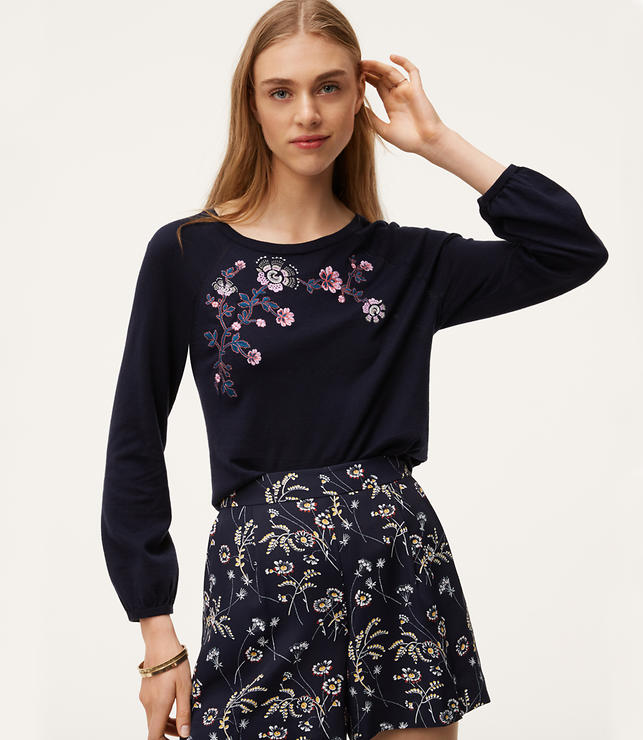 Primary Image of Floral Embroidered Puff Cuff Sweater