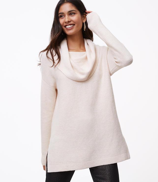 Textured Cowlneck Tunic Sweater | LOFT