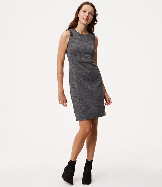 Primary Image of Ruffled Herringbone Sheath Dress