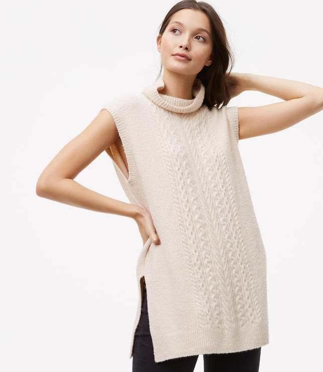 Petite Sleeveless Cable Tunic Sweater | LOFT